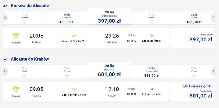 Ceny biletów lotniczych na trasie Kraków - Alicante