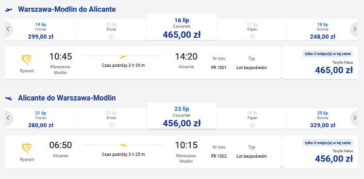 Ceny biletów lotniczych na trasie Warszawa - Alicante