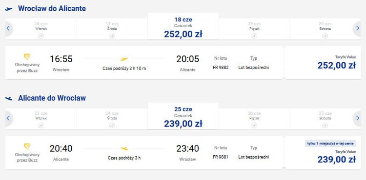 Ceny biletów lotniczych na trasie Wrocław - Alicante